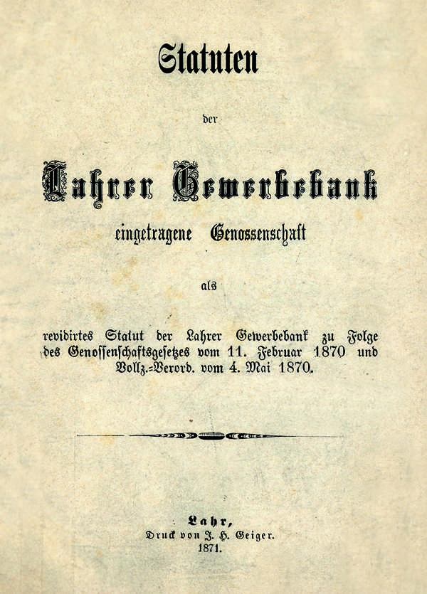 Titelseite der Statuten von 1871