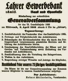 Die Ankündigung der Generalversammlung des Jahres 1940 mit anschließender Jubiläumsfeier
